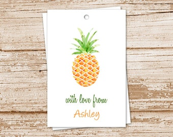 PRINTABLE personalized pineapple tags, gift tags . watercolor pineapple . tropical fruit . birthday . wedding . YOU PRINT