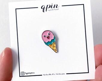 Ice cream enamel pin - Ice cream brooch