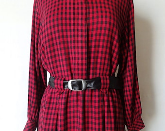 80s red and black checked plaid long maxi dress; retro secretary day dress; gingham shirtwaist dress