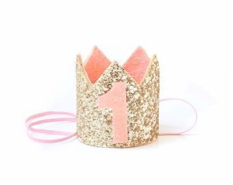 Mini 1st Birthday Crown First Birthday Girl Outfit First Birthday Crown   Birthday Hat   Birthday Girl Gift   Decorations Gold + Pink Crown