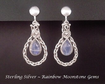 Clip On Earrings, Artisan Crafted: Fabulous Ornate Sterling Silver Earrings Featuring Rainbow Moonstone Gemstones | Clip-On Earrings, 426