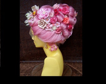 Theatrical Character Wig (W897) Lace Front, Pink Victorian Gothic, Marie Antoinette, Floral and Jewels, Drag or Cabaret