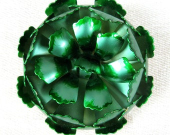 Vintage 1960s Green Flower Brooch 60s Metallic Tin Enamel Pin