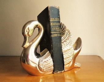 Vintage Brass Swan Bookends Brass Bookend Gold Swan Book Ends Heavy Bird  Bookends Animal Bookends Nursery Bookends Baby Book Shelf Figurine