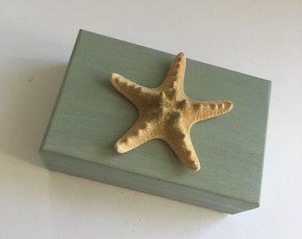 Wooden storage box, seaside, starfish, bathroom storage box, jewellery box, trinket box, watch box, crystal box, tarot card box