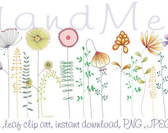 Flower, doodle flower ,leaf clip art, instant download, PNG  file - 300 dpi