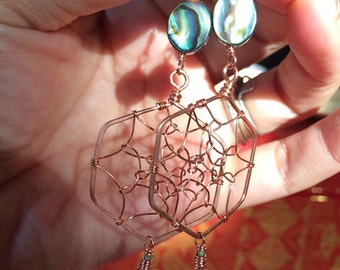 Hex Dream catcher with clear quartz crystal points, afghani turquoise and abalone shell on copper with nickle free and lead free silver wire