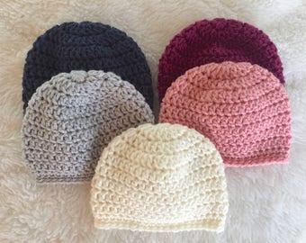 Sweet and simple newborn beanie, newborn baby hat, crocheted baby beanie, baby gift, crochet baby hat, baby shower gift, take home beanie