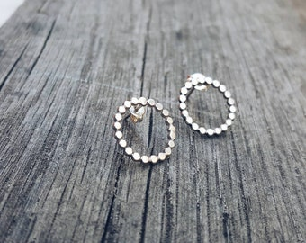 Beaded Circle Studs SHINY // Sterling Silver Stud Earrings. Modern earrings. Hoop earrings. Circle stud earrings.  Sterling circle earrings.