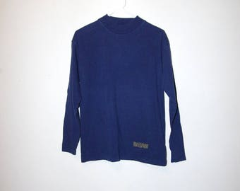 90's B.U.M. EQUIPMENT navy mock turtleneck long sleeve t-shirt