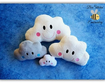 Happy Cloud - ITH Softie Embroidery Design - 4x4 5x7 6x10 8x10 instant download