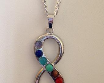 "Chakra Reiki 20"" Pendant Necklace - Healing, 7 Chakras, Chakra Centers, Crown, Third Eye, Throat, Heart, Navel, Sacral, and Root"