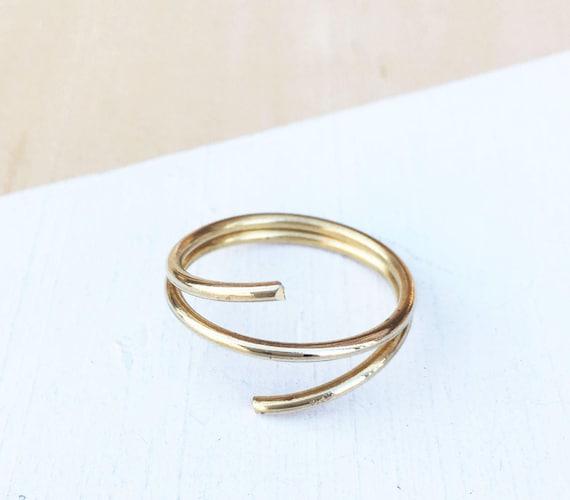 Messing-Draht umwickelt Ring Zierliche Ring Dünne Ring
