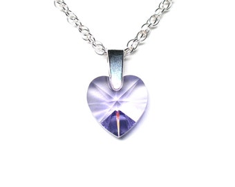 Tanzanite crystal heart necklace, Swarovski crystal pendant, sterling silver bail, sterling silver chain, sterling silver clasp