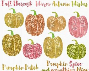 glitter pumpkins clipart clip art digital halloween - Glitter Pumpkins Digital Clipart - BUY 2 GET 2 FREE