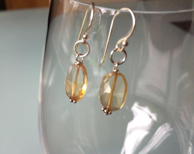 Tiny Citrine drop earrings Sterling Silver Yellow gemstone drop earrings November Birthstone jewellery - Chakra jewelry gift