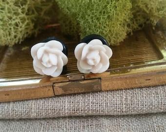 Flower Plugs, Wedding Gauges, Taupe Rose