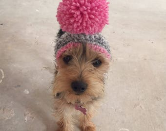 The bobble dog hat with matching trim, snood for your doggie. Uk seller. Choose your size and from 16 colours.