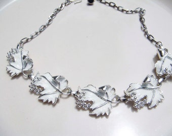 Vintage Sarah Coventry Whispering Leaves Necklace Silver-tone setting with winter white enameled leaves