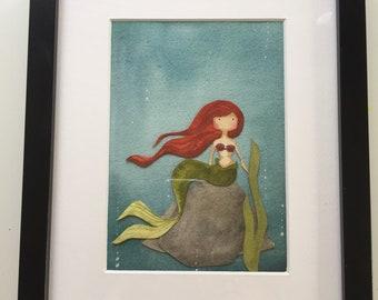 Mermaid watercolor and cut paper original framed