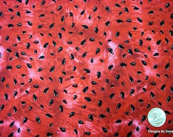 One Fat Quarter Cut Quilt Fabric, Red Ripe Juicy Watermelon and Black Seeds from Timeless Treasures, Sewing-Quilting-Craft Supplies