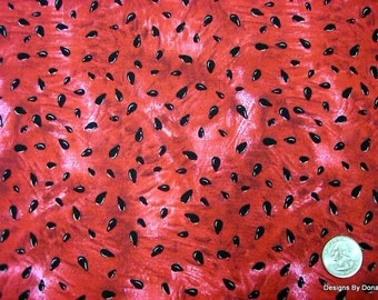 Ein fettes geschnitten Quilt Stoff, rote Reife saftige Wassermelone und schwarzen Samen von Timeless Treasures, Nähen, Quilten-Bastelbedarf