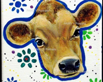 JERSEY COW Portrait - Hand painted - Original- FREE Shipping
