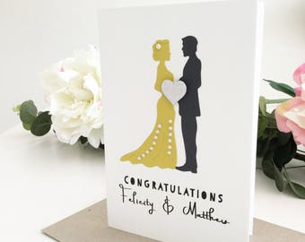 Wedding Congratulations Card, Bride and Groom Card, Wedding Gift, Personalized Gift, Newlyweds Gift, Handmade Wedding Card, Yellow, Grey