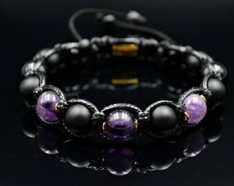Men's Amethyst Bracelet Gemstone Bracelet Beaded Bracelet Shamballa Bracelet Gift for Men Macrame Bracelet Onyx Bracelet Agate Bracelet