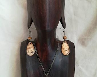 "Set necklace + earrings ""Original"" semi-precious stones, Ti Memento"