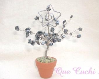 Tree of life photo holder of  chips  Hematite