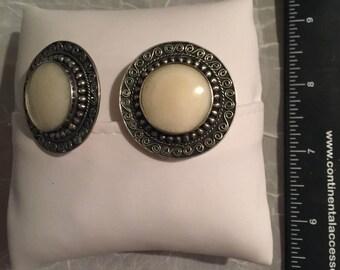 Vintage Sterling Silver Clip Earrings - AB