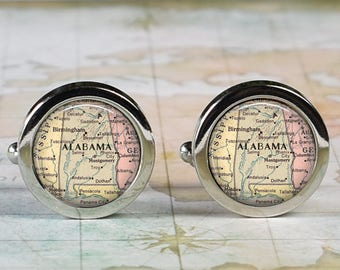 Alabama cuff links, Alabama state map cufflinks wedding gift anniversary gift for groom groomsmen gift for best man Father's Day gift