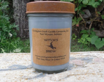 Halloween Candle WITCH'S BREW 8 oz  Pure Soy Candle with rusty lid