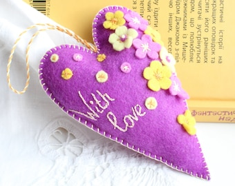 With Love_Felt hearts_Wedding ornaments_Felt heart ornament_Heart Flowers_Wedding heart_Gift for Couple_Wedding felt decor_Mothers day gift