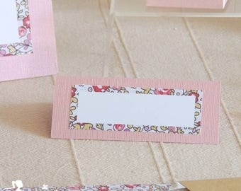 TO order - 10 brand lace 10cm x 4cm Pink mother of Pearl squares & Liberty