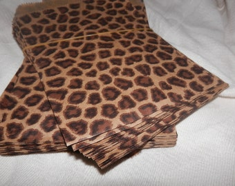 50 pack Leopard Print Merchandise Bags, Paper Bags, Gift Bags 5x7 inches
