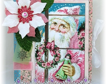 Christmas Scrapbook, Santa Photo Album, Instagram Album, Shabby Chic, Christmas Photo Album