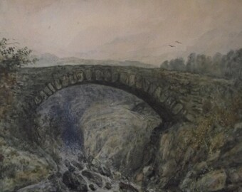Vintage Original Watercolor Painting of North Wales , signed AOH in monogram