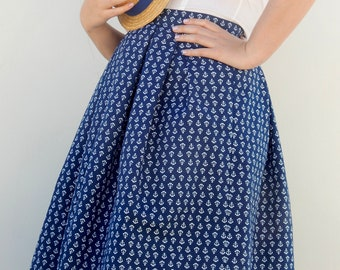 Custom made high waisted sailor skirt, vintage style pleated anchor print skirt , all sizes and plus sizes