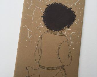 Custom Illustrated Kraft Brown Cahiers Lined Moleskine Journal Dreaming Constellations