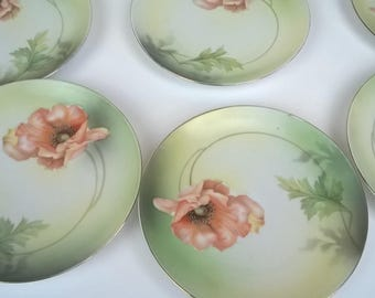 Mother's Day, Gift for momAntique R S Germany Poppy Plate Porcelain Marked Set of 9 #03042018T