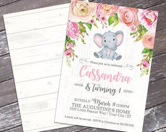 Baby Elephant Birthday Invitation - Little Peanut Invite, Watercolor Pink Flowers, 1st Birthday, Jungle | DIY Instant Download PDF Printable