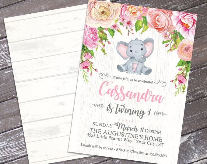 Baby Elephant Birthday Invitation - Little Peanut Invite, Watercolor Pink Flowers, 1st Birthday, Jungle | DIY Instant Download PDF Printable