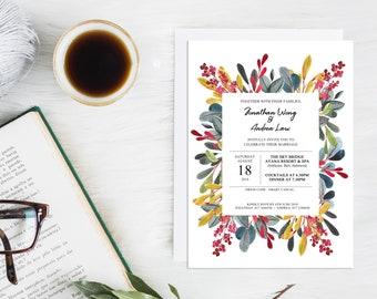 Personalised Printable Wedding Invitation Card / Save the Date / Botanical Leaves Theme / DIY Wedding / Customised / Romantic Autumn Wedding