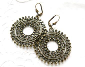 bohemian gypsy earrings chandelier earrings bohemian earrings  bronze bohemian earrings bronze jewelry