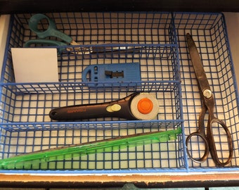 Drawer Organizer, Industrial Desk Office Supply, Vintage Flatware Tray, Utensil Holder, Vinyl Coated Blue Wire Metal Tray