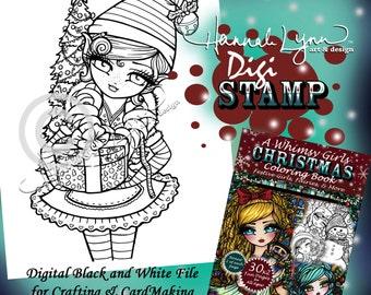 PRINTABLE Digi Stamp Santa's Helper Elf Whimsy Girls Christmas Coloring Page Fun Fantasy Art Hannah Lynn