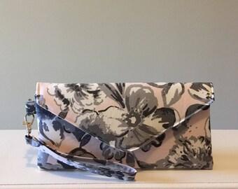 Envelope Clutch, Fabric Wristlet, Wristlet Clutch, Fabric Clutch, Evening Clutch, Pink & Gray Floral, Organic Cotton