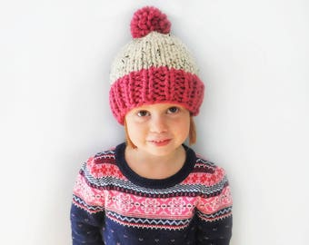 Chunky Color Block Knit Pompom Wool Hat - Photo Prop - Newborn, Baby, Child - 16 Colors